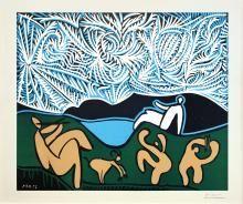 Pablo Picasso,  Bacchanale avec chevreau et spectateur, 1959,  linocut su carta Vélin d'Arches, cm 62x75