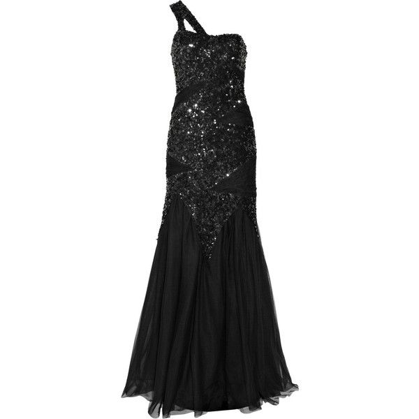 Rachel Gilbert Zaza sequined silk and tulle one-shoulder gown (1.660 BRL) ❤ liked on Polyvore featuring dresses, gowns, vestidos, long dresses, women, long sequin dress, one shoulder evening gowns, sequined dresses and silk gown