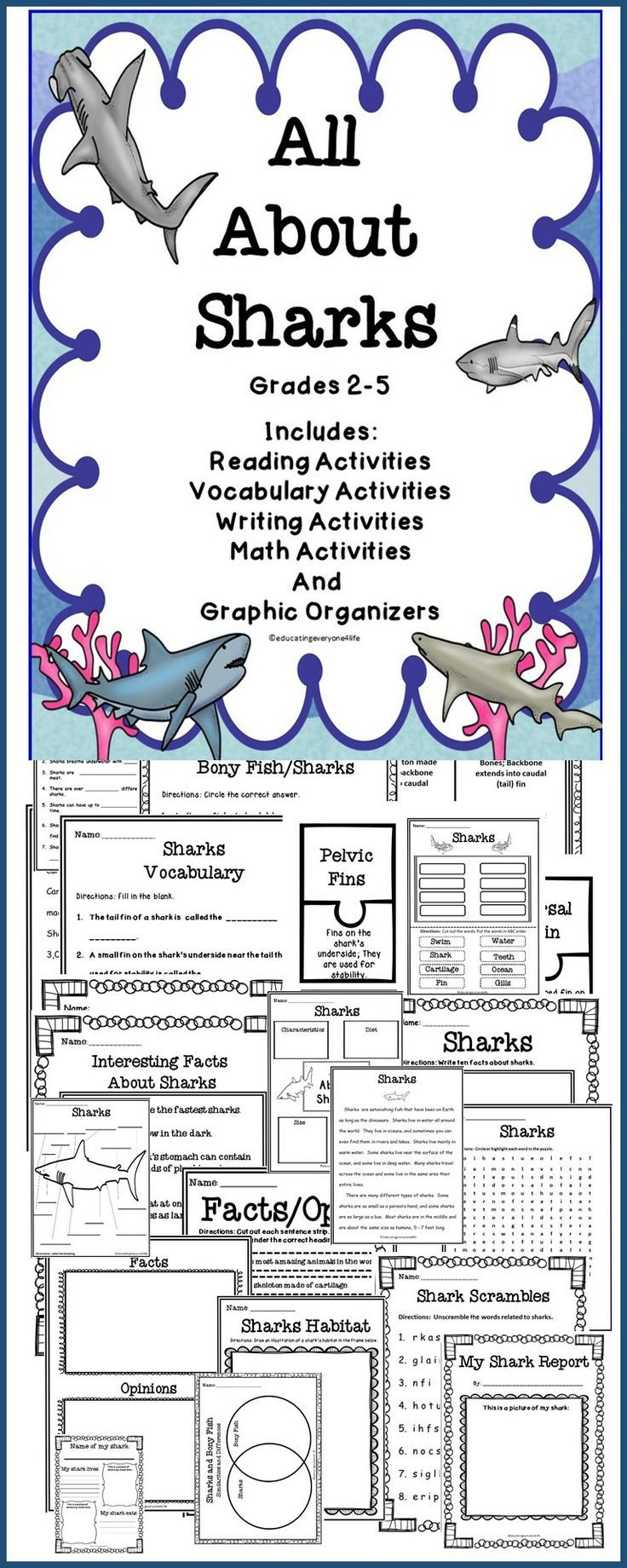 Celebrate Shark Week In The Classroom! An integrated unit about Sharks - Includes reading comprehension, writing, charts, graphic organizers, and more.
