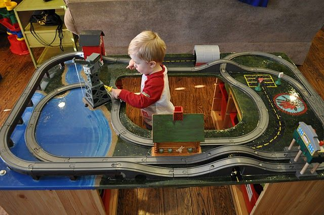 DIY train table. no tutorial, but i think i can steal enough from the pics! haha!