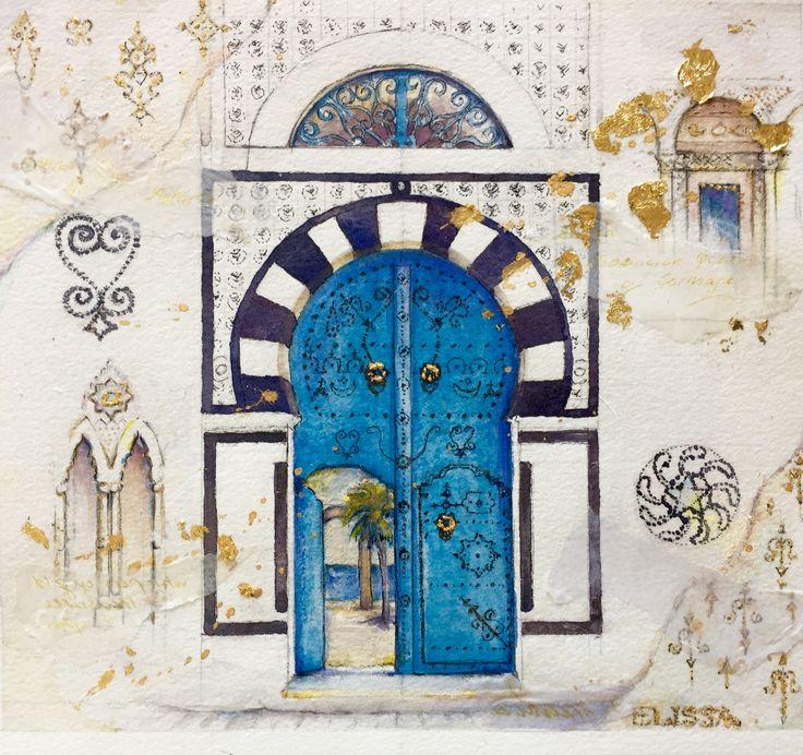 Tunisia door watercolour by Jenny Diamond