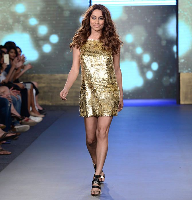 This jazzy number from Rocky S on Anusha Dandekar looks so glam. Showstopping looks from India Beach Fashion Week - Rediff.com Get Ahead