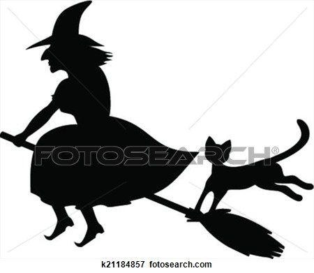 hexe, und, schwarze katze Große Clipart Grafik anschauen