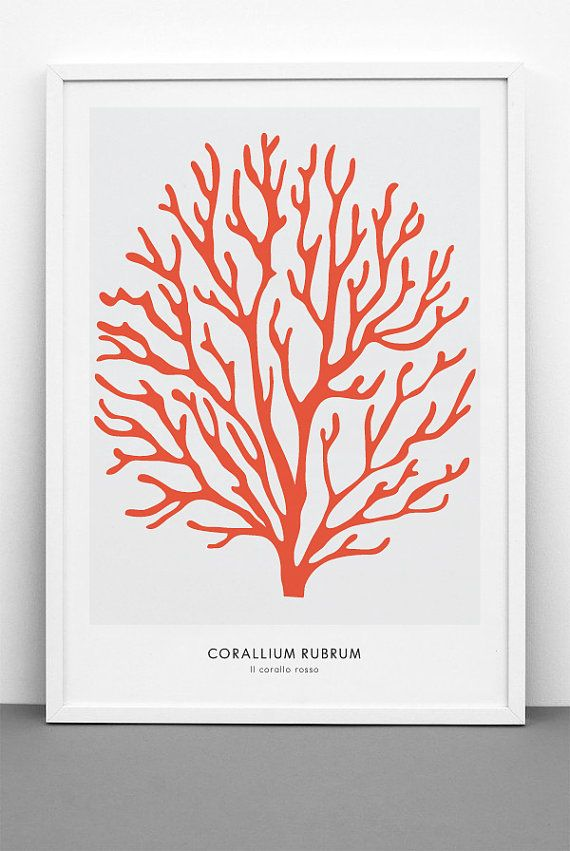 Red Coral Large Poster - PRINTABLE FILE. Oversized Sea Coral Print. Coral Illustration. Marine Beach Nautical Coastal Print. Red Chic Stylish Poster.