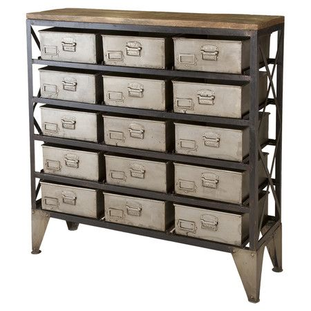 Stow craft supplies, paperwork, and DVDs in this industrial-chic cabinet, featuring a wood-topped metal frame and 15 essential drawers.   ...
