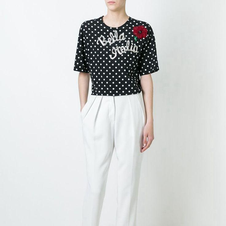 Star Brand Runway summer Women tops polka dot print Sequins Rose letter loose silk t-shirt  Women t shirt Female Tshirt 2017