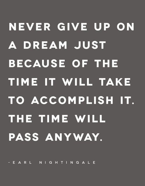 Never give up on a dream just because of the time it will take to accomplish it. The time will pass anyway. #fitness #quotes