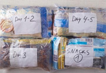 5-day backpacking menu, food for multi-day hiking trip
