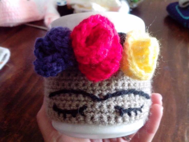 Frida Taza Mas Funda Tejida A Crochet - $ 100,00 en Mercado Libre