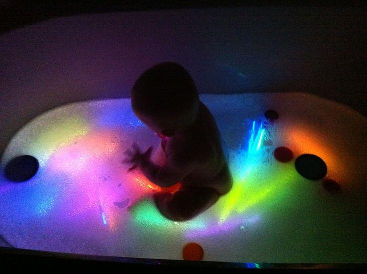 Glow sticks in the bath tub!! maybe braxton will enjoy baths more? lol