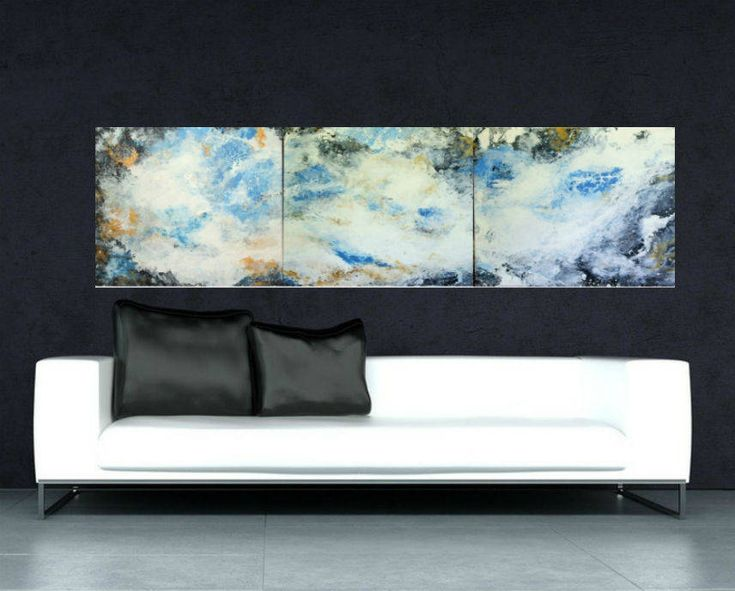 large abstract art canvas wall gift art decor white blue black gold painting set of 3 wall art modern large art home original decor http://etsy.me/2jbFIHp #art #painting #white #housewarming #newyears #blue #largea