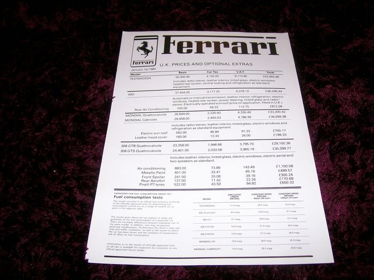 Ferrari 400, '85 Maranello Concessionaires price list