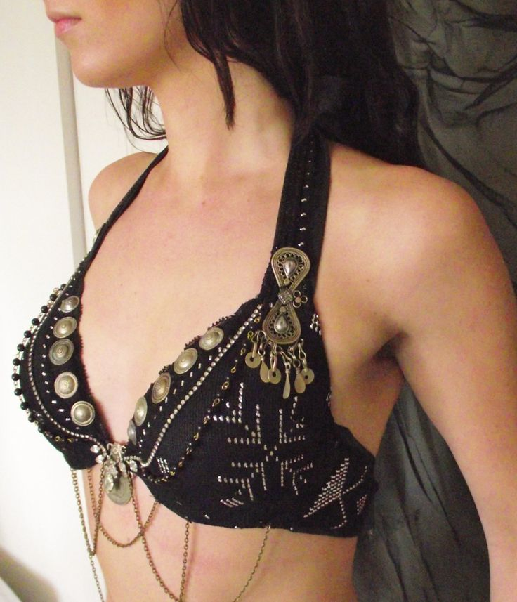 Tribal Fusion Bellydance Bra- Black Assuit and Rhinestone- Performance Ready, A or B Cup. $175.00, via Etsy.