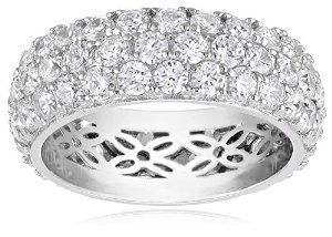Platinum Plated Sterling Silver Swarovski Zirconia 3 Row Pave Round All-Around Ring  #krissylovesbling