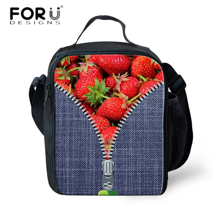 FORUDESIGNS Novelty 3D Fruit Strawberry Printed Thermos Lunch Bags for Girls Insulated Lunch Bags for Kids Women Lancheira