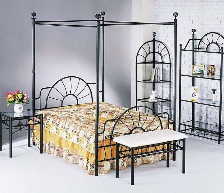 Acme Furniture - Sunburst Queen Canopy Bed HB/FB in Black Finish - 02084Q