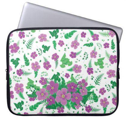 Purple Hibiscus Computer Sleeve - pattern sample design template diy cyo customize