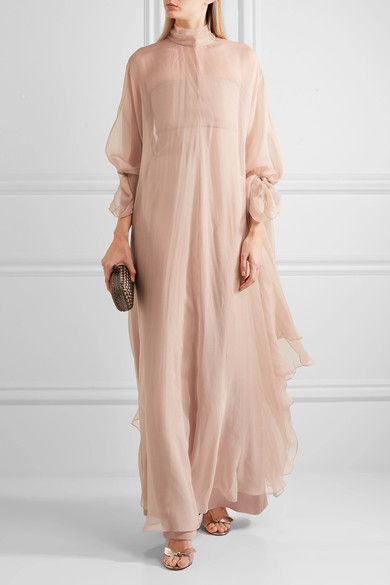 Beige silk-chiffon Button fastenings along back, concealed zip fastening along side 100% silk; lining1: 84% polyamide, 16% elastane; lining2: 100% silk Dry clean Designer color: Skin  Made in ItalyLarge to size. See Size & Fit notes.