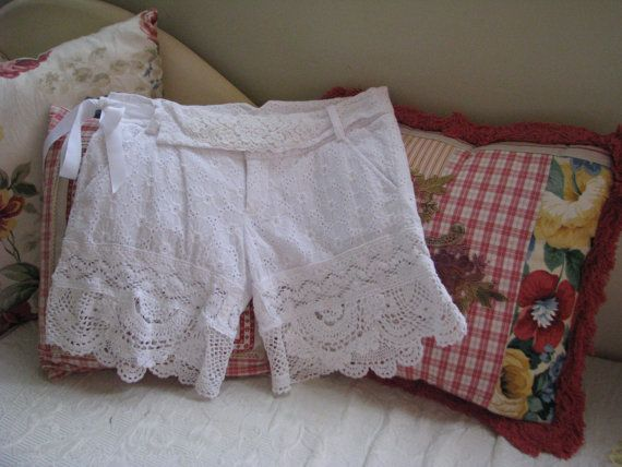 Upcycled White Broderie Anglaise Cotton Shorts  Broderie