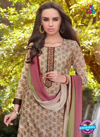 Teazle 2108 Grey & Maroon Color Cambric Cotton Designer Suit