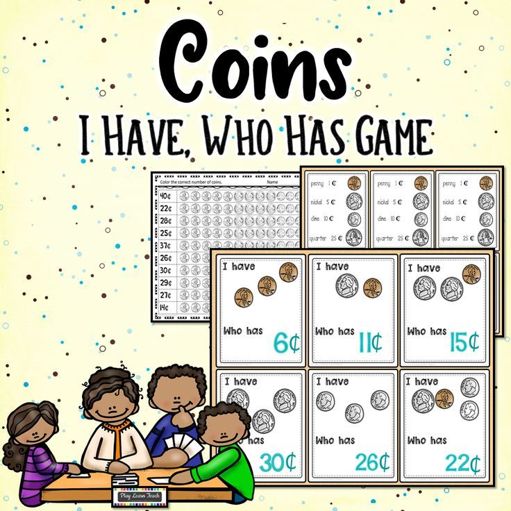Kids practice identifying and counting U.S. coins and bills.  Task cards and printables target sums to one dollar. This I Have Who Has card game works well for a whole class (35 cards included) or a small group. #countingcoins #kindergarten #firstgrade #secondgrade