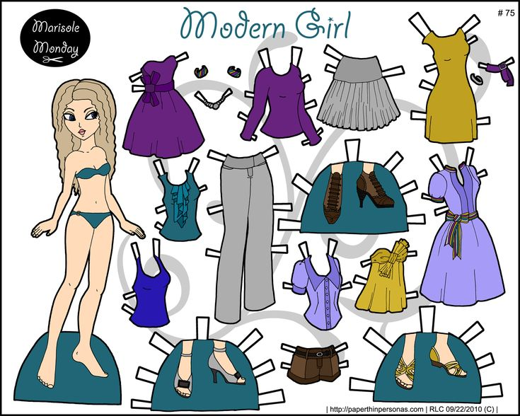Full color printable paper doll with a modern wardrobe and curly blond hair.