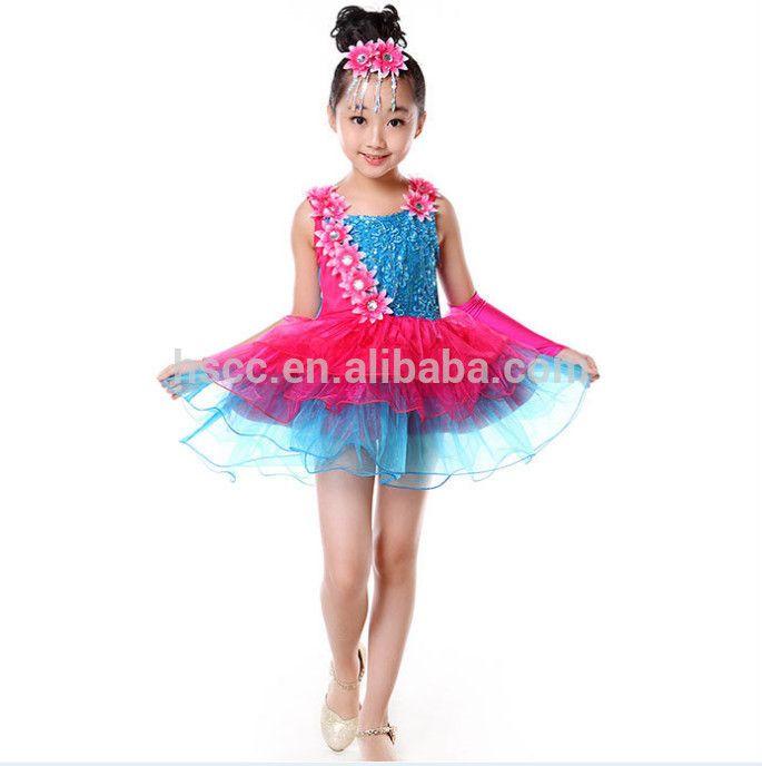 2015 murah merah muda biru anak gaun tari gadis dengan payet bunga anak-anak tutu tari kostum anak gadis gaun dansa latin