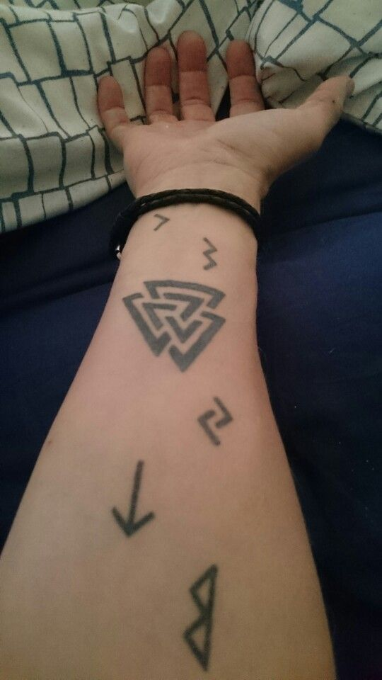 My tattoo on his arm valknut with runes a tribute for my for Valknut symbol tattoo
