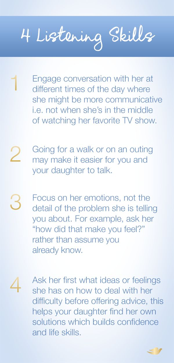 Talking to your daughter about difficulties she might be facing is hard. These 4 tips can help you become a better listener so you can help your daughter with her confidence.