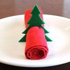 Christmas Tree Acrylic Napkin Rings, Laser Cut Set of 4 Large