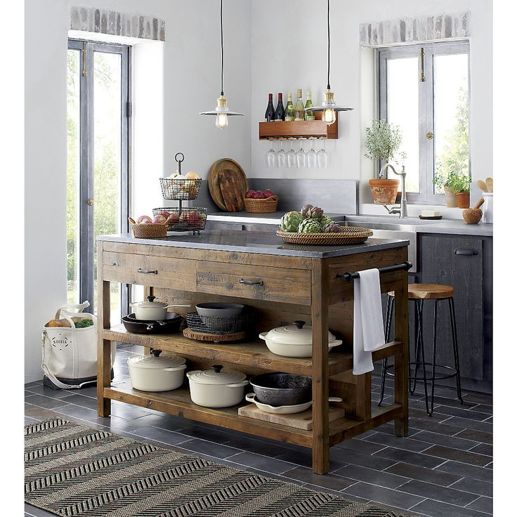 Shop Bluestone Reclaimed Wood Large Kitchen Island.   Hand assembled with tongue and groove joinery, its base is beautifully sanded and finished in clear lacquer that allows its natural character to shine through.