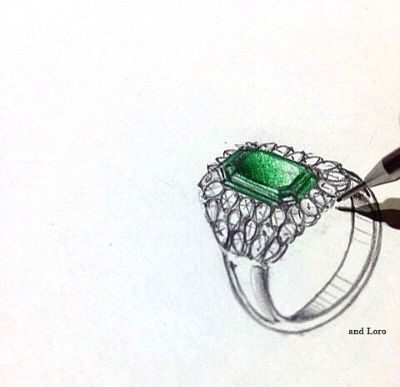 emerald rign design pencil sketch illust