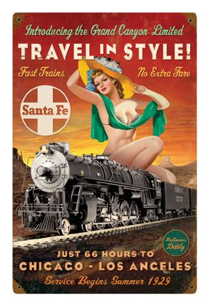 """""""Travel in Style"""" Pin-Up Metal Sign-Historic Rail"""