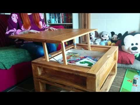 Pallet Coffee Table with Lifting Top and Landing Gear - All