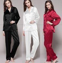 Mulheres De Cetim De Seda Pijamas Set Pijama Pijama Sleepwear Conjunto Loungewear S, M, L, XL, 2XL, 3XL Mais Sólida _ _ Fit All Seasons(China (Mainland))