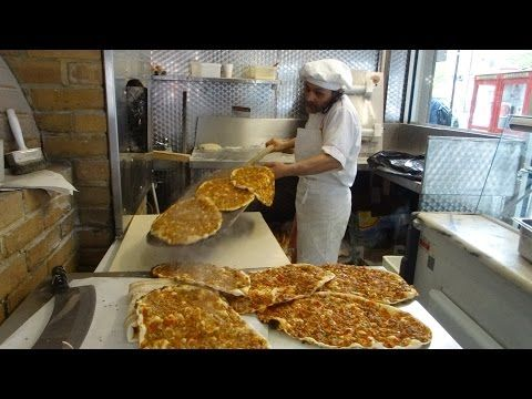 Master Baker Gino making Turkish Flat Bread Pizza (Pide) and Lamachun in a wood fired oven, London. - YouTube