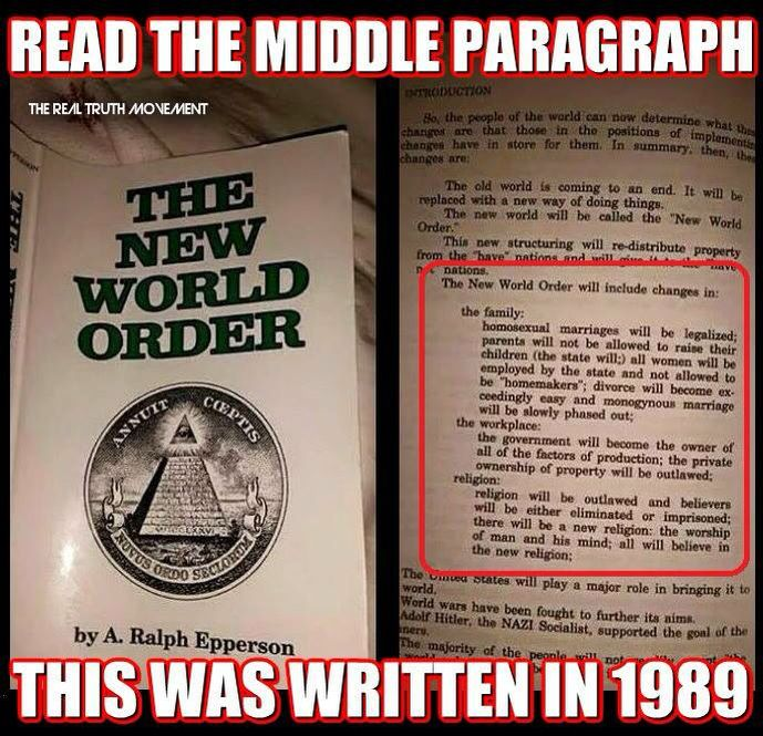 The new world order by Ralph Epperson I'm pretty sure they thought this person was a conspiracy theorist. We are so blind and dumb to the facts and open to opinions and lies. This book from w…