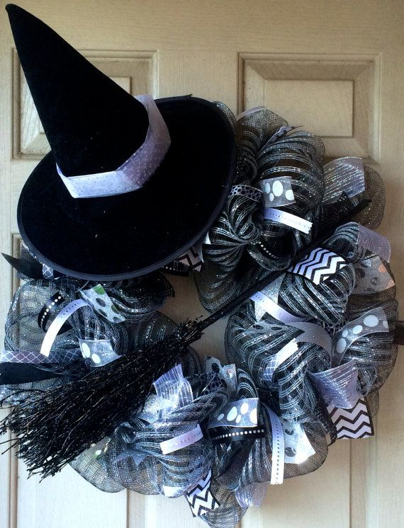 Hey, I found this really awesome Etsy listing at https://www.etsy.com/listing/201993524/black-and-silver-witch-halloween-deco