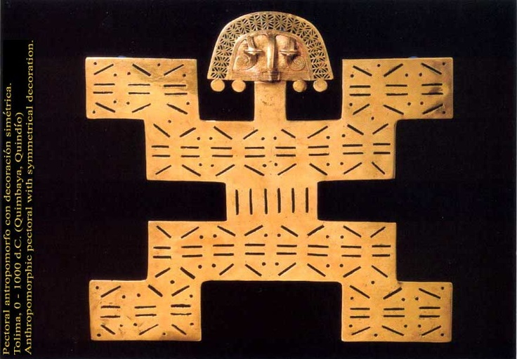 Anthropomorphic Pectoral with symmetrical decoration, 0 - 1000AC, Quimbaya, Quindío, Colombia