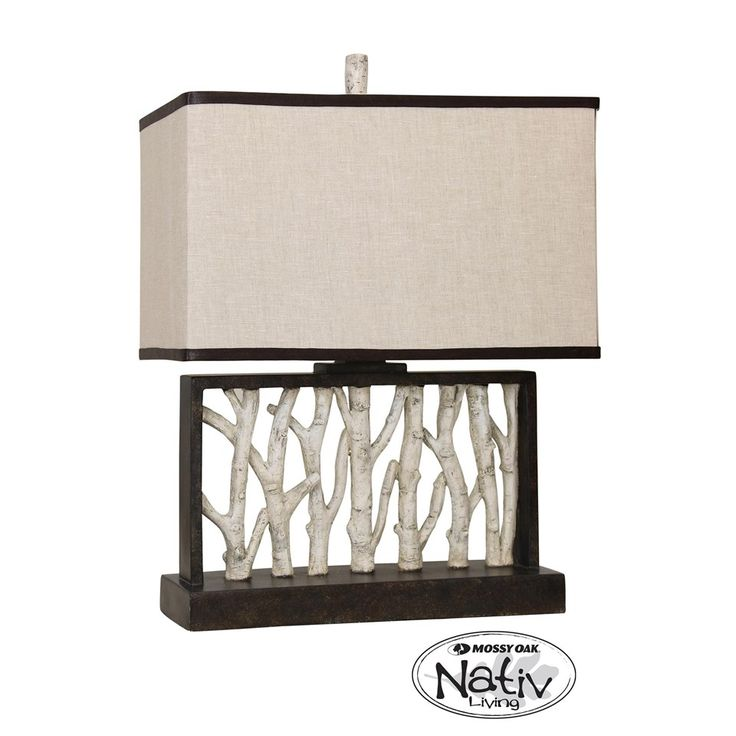 mossy oak nativ living rectangular table lamp with birch tree motifs fabric shade with contrast. Black Bedroom Furniture Sets. Home Design Ideas