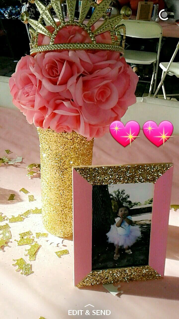 Pink and gold princess party centerpiece