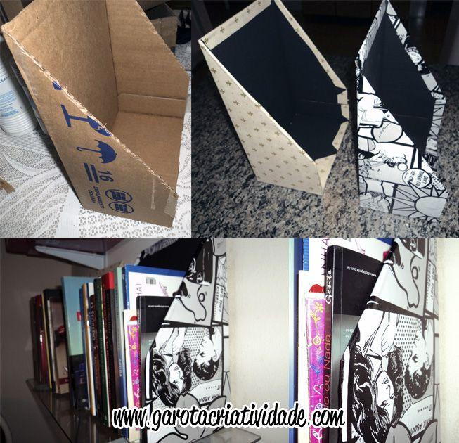 #DIY Porta-livros feito de caixa de papelão.  #books