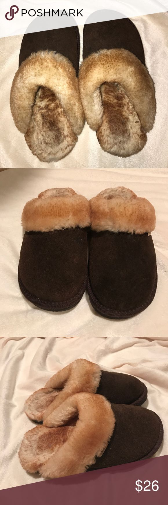 Suede and shearling slippers Dark brown shearling lining and suede outer. Rubber soles. Lightly worn. Very soft and comfy. Size M. Fits a 7-8. Similar to UGG slippers Rj's Fuzzies Shoes Slippers