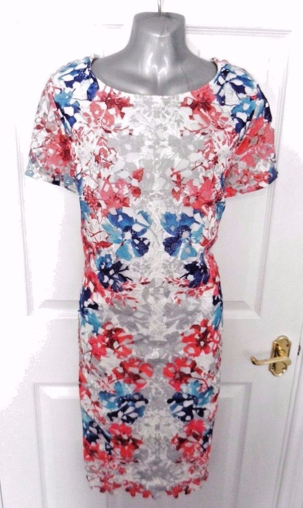 ❤ PER UNA PREMIUM Size 20 White Red Pink Blue Lace Smart Dress Lined Back Zip