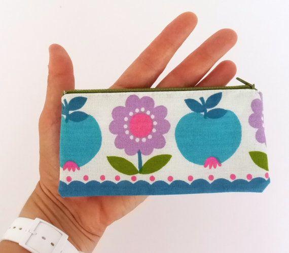 Handmade Scandinavian 70s Apple fabric purse bag by Jane Foster