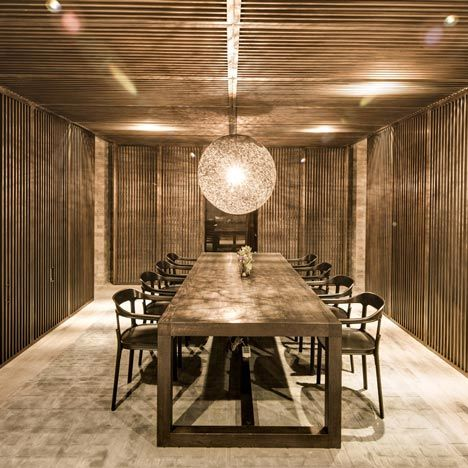 Neri - Private Club Dining Room in Beijing using smoked oak.