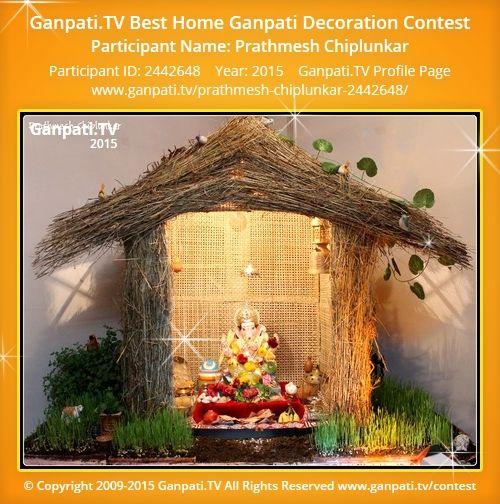 Prathmesh Chiplunkar Home Ganpati Picture 2015. View more pictures and videos of Ganpati Decoration at www.ganpati.tv