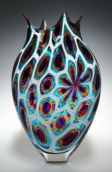 Purple/Gold/Teal Foglio: David Patchen: Art Glass Vessel - STUDIO SALE | Artful Home <3<3<3GORGEOUS<3<3<3