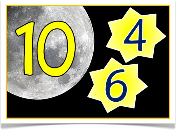 Number Bonds to 10 (Stars) - Treetop Displays - With a prompting title poster, here is a set of 12 A4 posters showing the number bonds to 10. Each poster shows a number bond with the Moon and stars. Great for any topic related to space as well! Visit our website for more information and for other printable classroom resources by clicking on the provided links. Designed by teachers for Early Years (EYFS), Key Stage 1 (KS1) and Key Stage 2 (KS2).