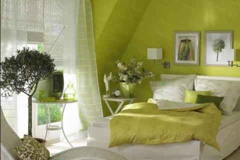 Маленькая спальня в травянистом цвете